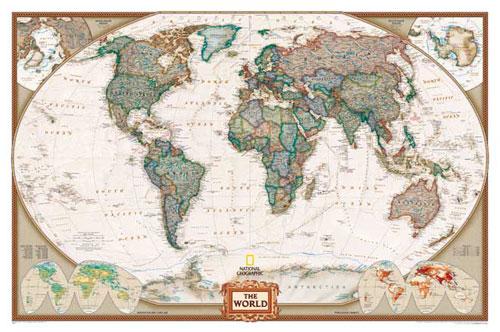 belle carte du monde murale