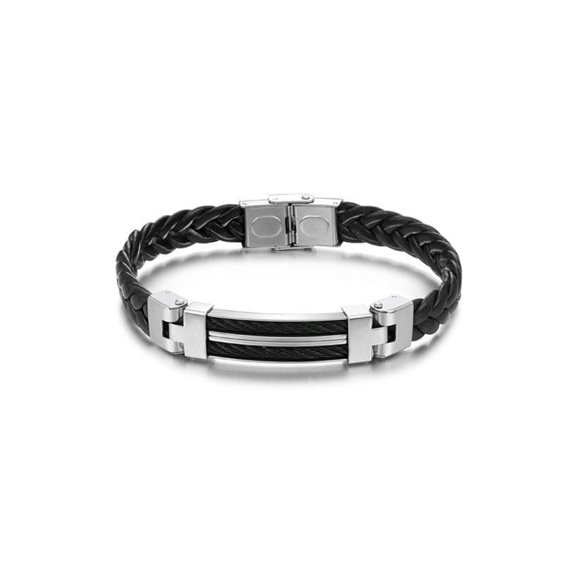 bracelet homme acier et cuir