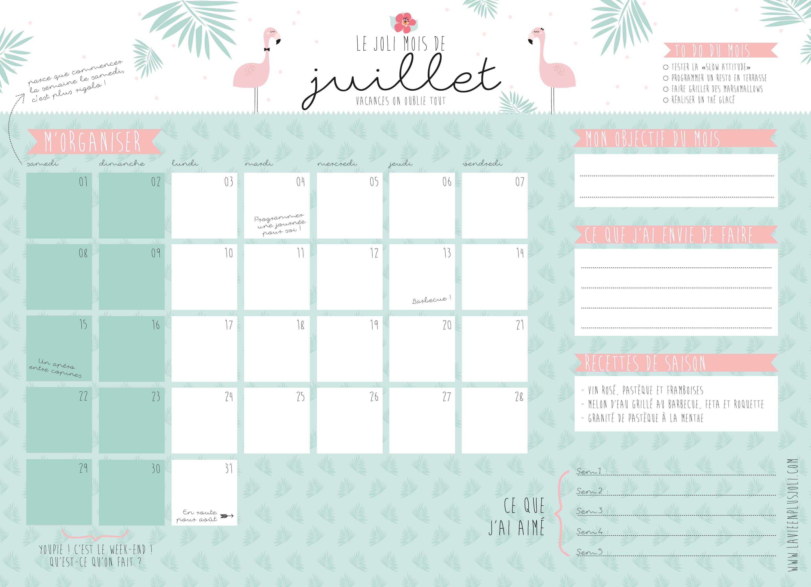 calendrier mois de juillet