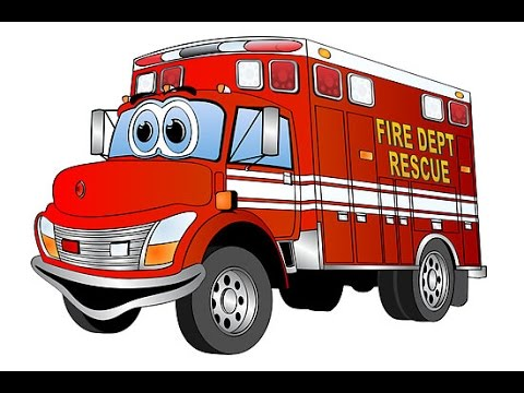 camion de pompier dessin animé