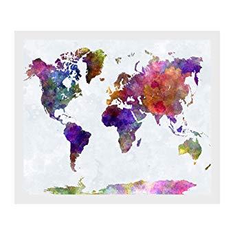 carte du monde peinture