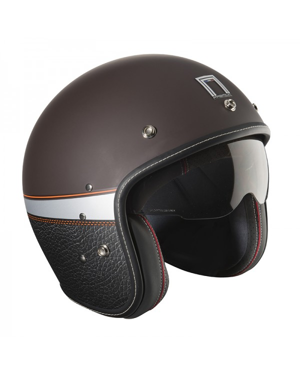 casque jet marron