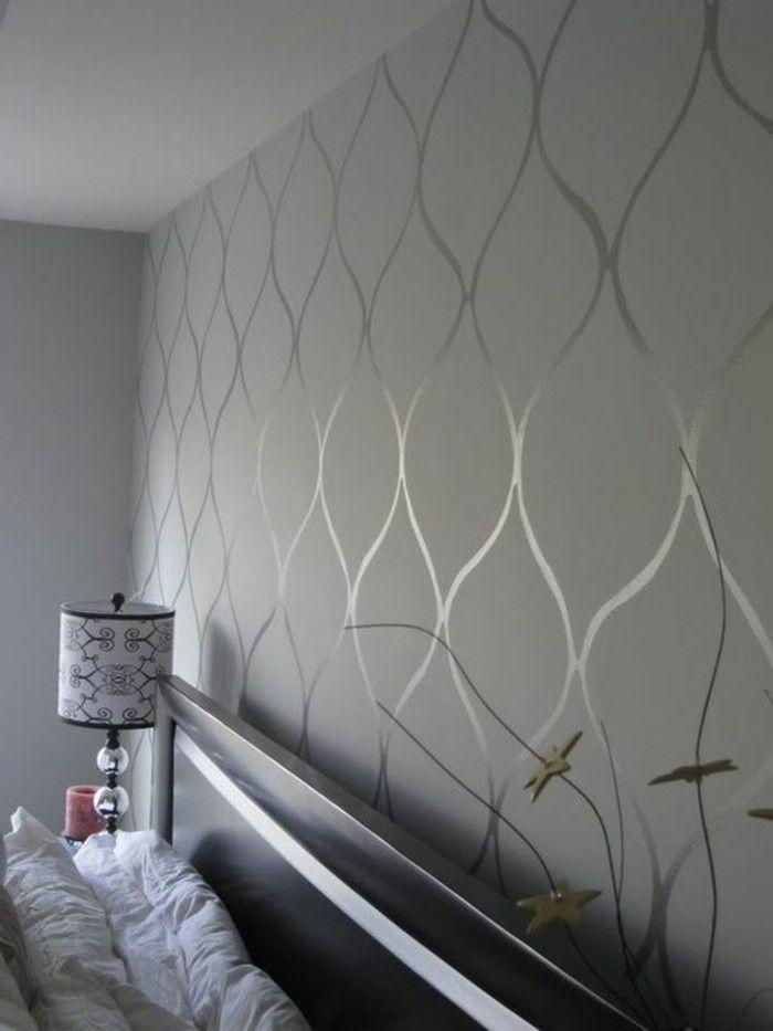 chambre papier peint gris