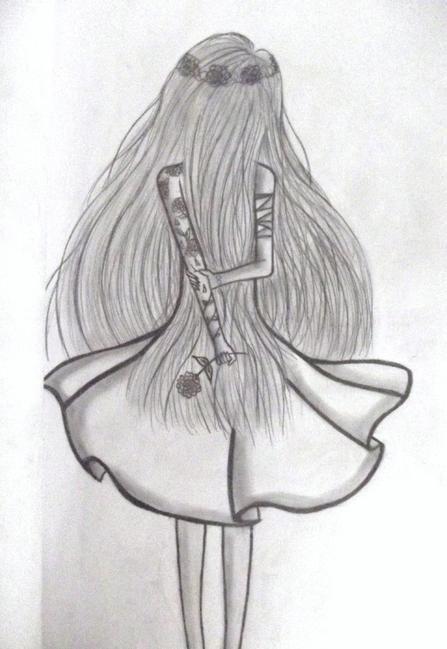 dessin fille de dos