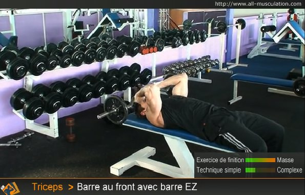 exercice barre triceps