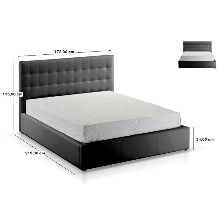 lit 2 personnes noir
