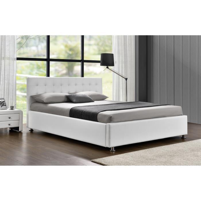 lit coffre 140x190 blanc