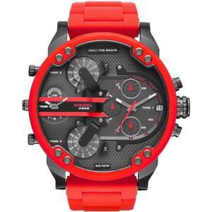 montre diesel noir et rouge