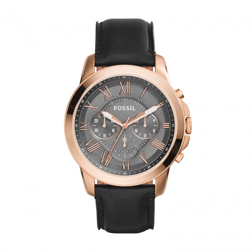 montre grant chronographe en cuir noir