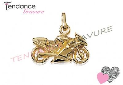 pendentif moto plaqué or
