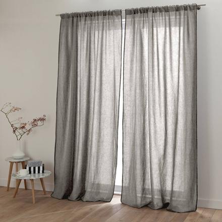 rideau lin gris clair