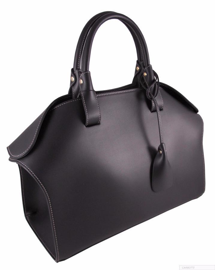sac main cuir noir