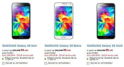 samsung galaxy s5 prix sans forfait