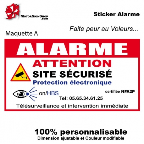 sticker alarme maison