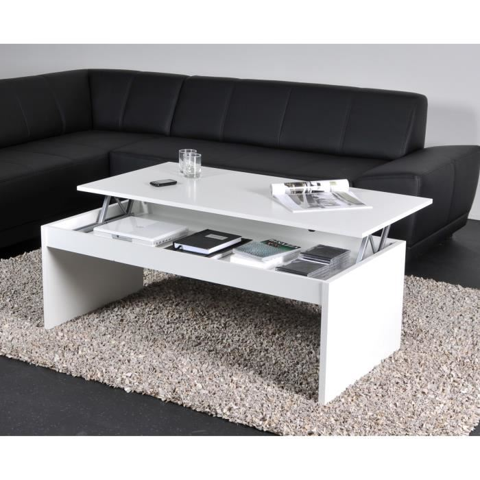 table basse plateau relevable blanc
